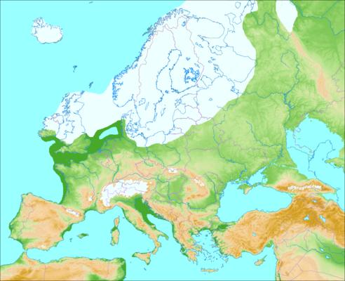 Carte de la glaciation de Wurm (Mapa de la glaciacion de Wurm)