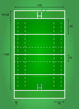 Plan d'un terrain de rugby ( Plan d'un terrenh de rugbí)
