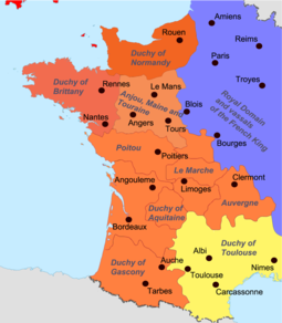 Carte de milieu du XII°- Domaine des Plantagenêt (Carta deu mièg deu sègle XIIau-  Domani deus Plantagenêt)