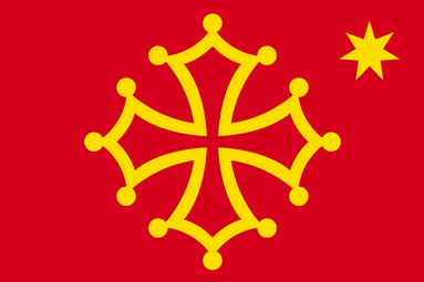 Drapeau occitan avec étoile à 7 branches (Drapèu occitan dab estela a sèt brancas)