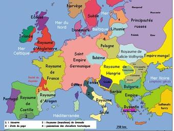 Carta d'Euròpa au sègle XIIIau / Carte de l'Europe au XIIIème siècle