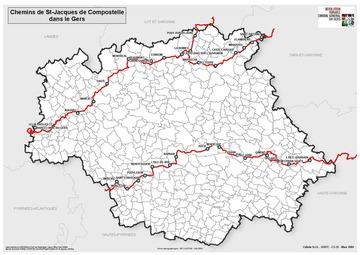 Carte des Chemins de St Jacques (Mapa deus Camins Jacaires)